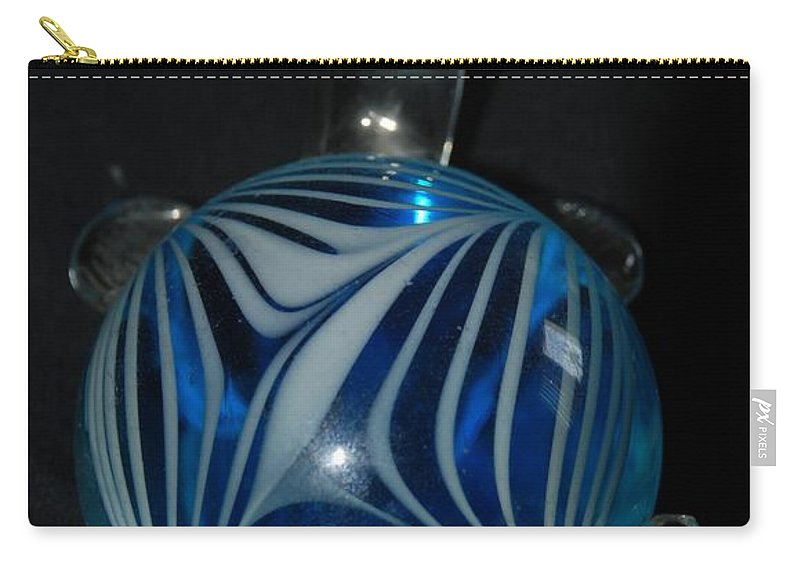 Glass Carry-all Pouch featuring the photograph Blue Glass Turtle by Rob Hans