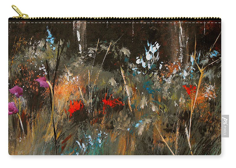 Abstract Carry-all Pouch featuring the painting Blue Grass And Wild Flowers by Ruth Palmer