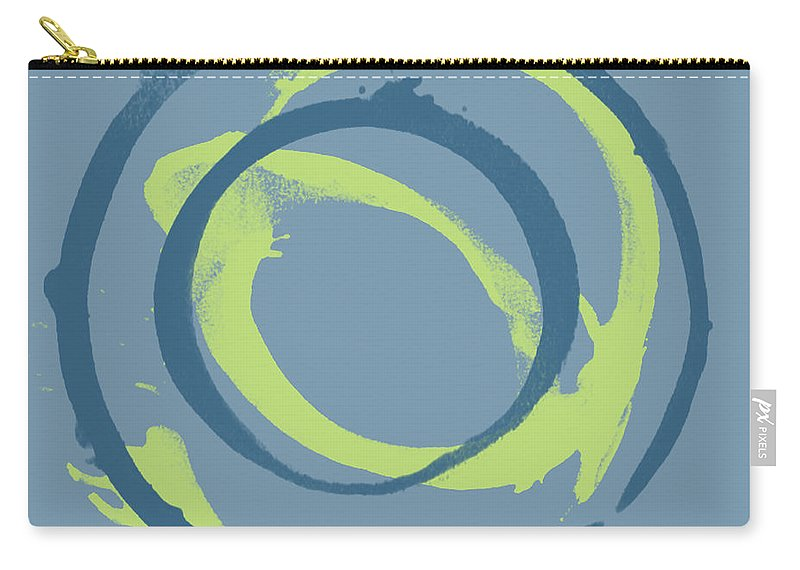 Green Carry-all Pouch featuring the painting Blue Green 1 by Julie Niemela