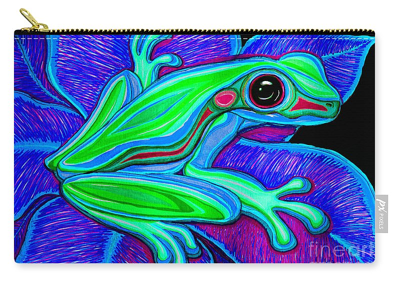 Frog Carry-all Pouch featuring the drawing Blue Green Frog by Nick Gustafson