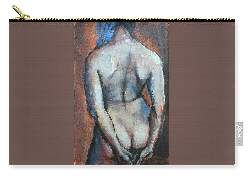 Original Painting Female Nude Drawing Acrylic Blue Hair Carry-all Pouch featuring the painting Blue Hair by Carmen Tyrrell