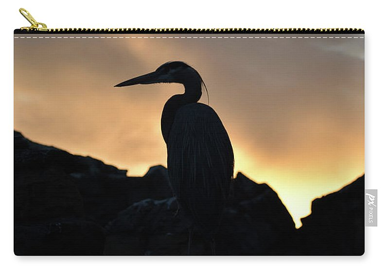 Great Blue Heron Carry-all Pouch featuring the photograph Great Blue Heron At Sunset by Rose De Dan