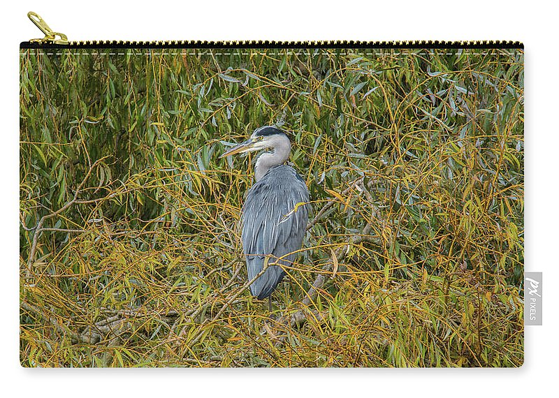 Blue Heron Carry-all Pouch featuring the photograph Blue Heron In The Autumn Colours by Stephen Jenkins