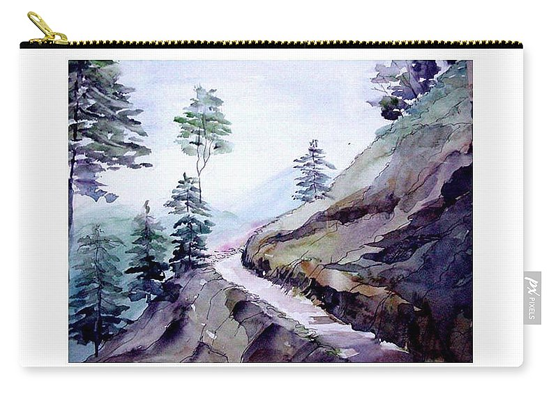 Landscape Carry-all Pouch featuring the painting Blue Hills by Anil Nene