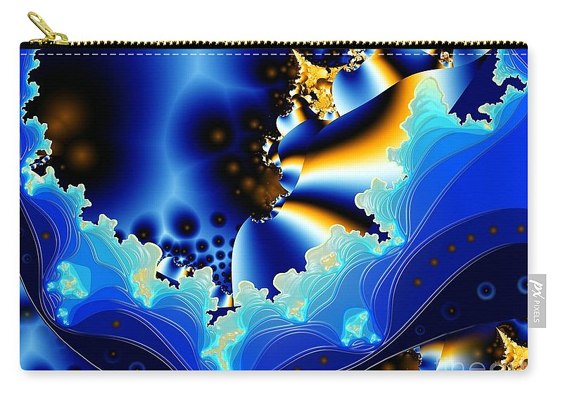 Fractal Art Carry-all Pouch featuring the digital art Blue Hue by Ron Bissett