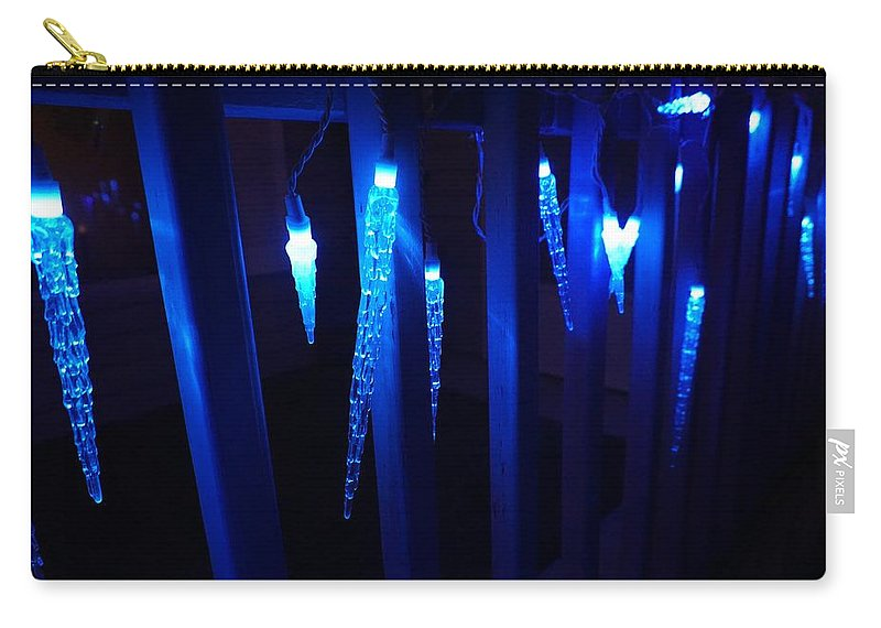 Blue Carry-all Pouch featuring the photograph Blue Icicles by Susan Brown