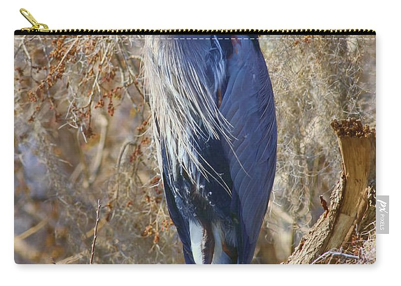 Blue Heron Carry-all Pouch featuring the photograph Blue In The Moss by Deborah Benoit