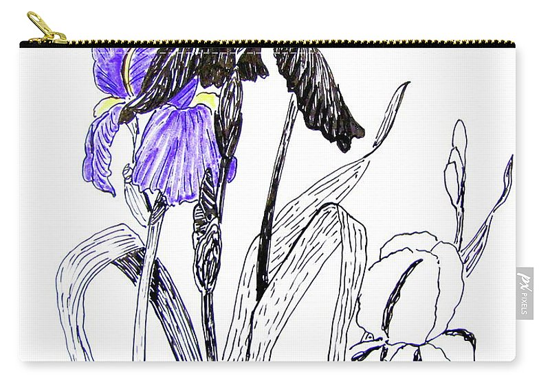 Iris Carry-all Pouch featuring the drawing Blue Iris by Marilyn Smith