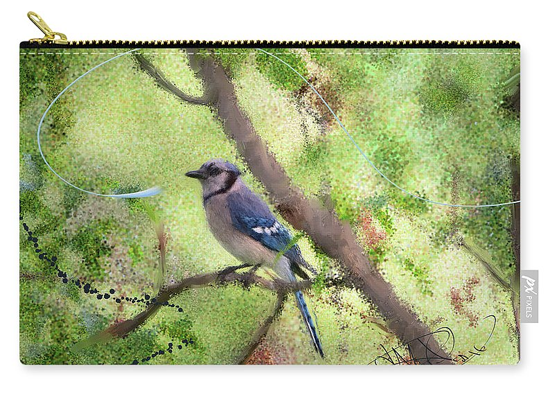 Painting Carry-all Pouch featuring the digital art Blue Jay 1404 by Donald Pavlica