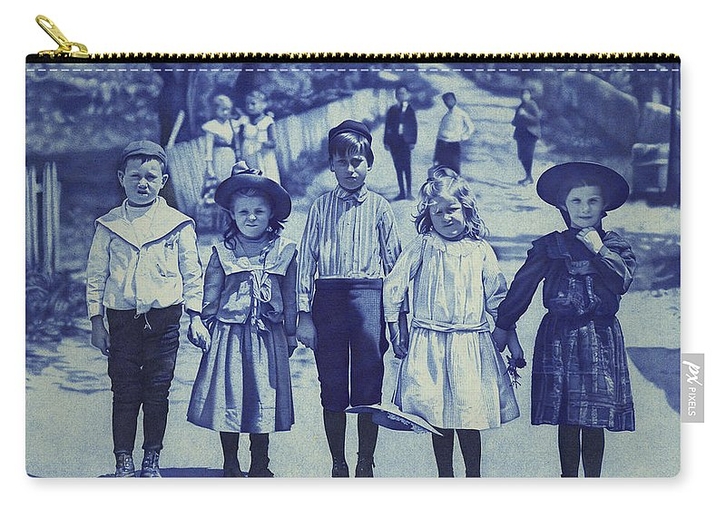 Photorealism Carry-all Pouch featuring the drawing Blue Kids by Chuck Bowden