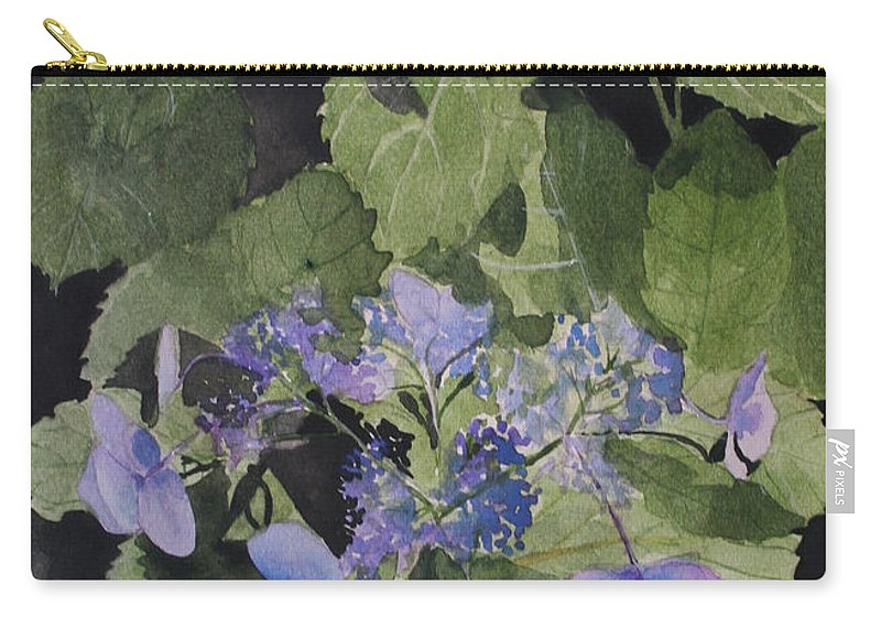 Flowers Carry-all Pouch featuring the painting Blue Lace by Jean Blackmer