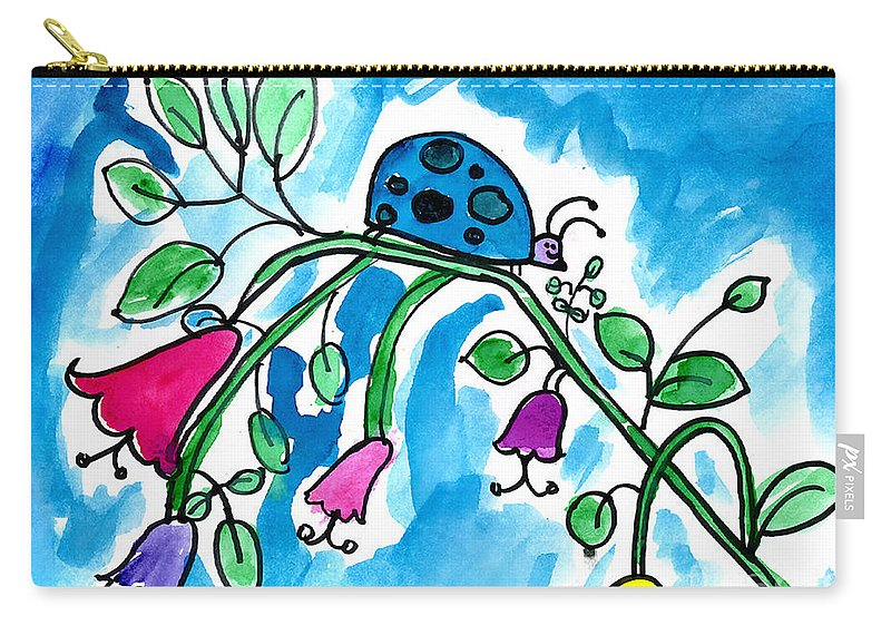 Ladybug Carry-all Pouch featuring the painting Blue Ladybug by Jackie Wicks Age Eleven