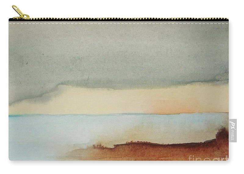Abstract Carry-all Pouch featuring the painting Blue Lagoon by Vesna Antic