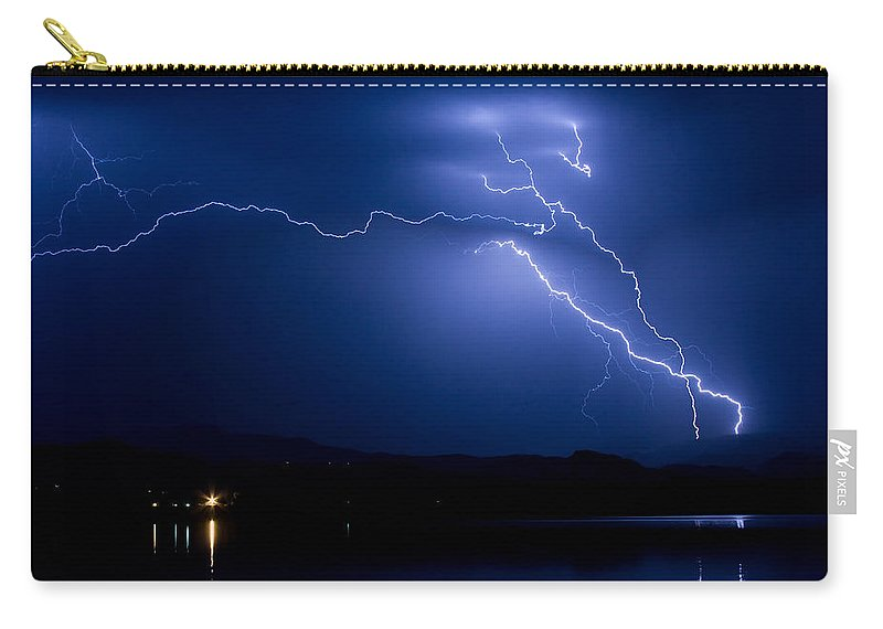 Lightning Carry-all Pouch featuring the photograph Blue Lightning Sky Over Water by James BO Insogna
