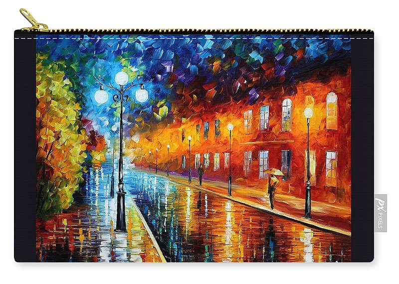 Afremov Carry-all Pouch featuring the painting Blue Lights by Leonid Afremov
