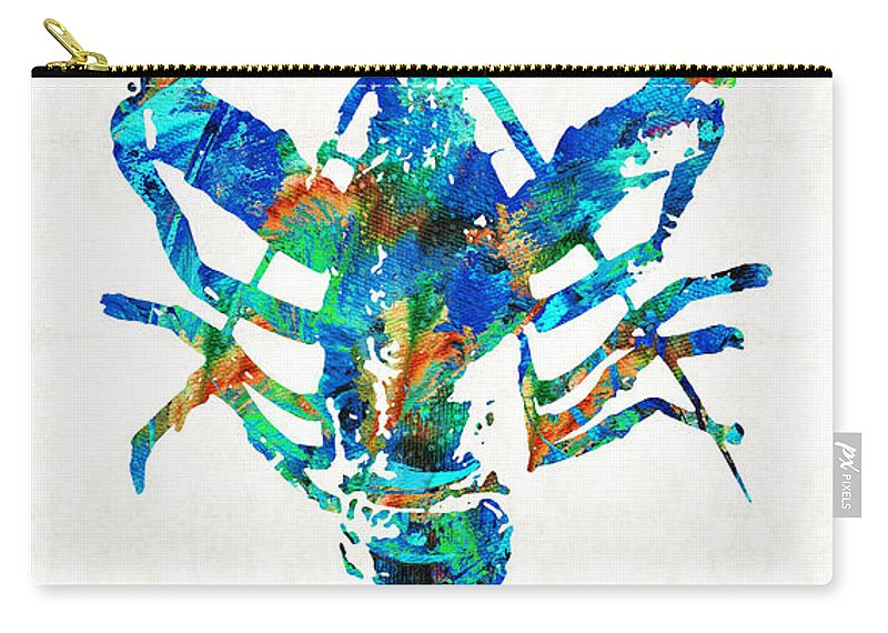 Lobster Carry-all Pouch featuring the painting Blue Lobster Art By Sharon Cummings by Sharon Cummings