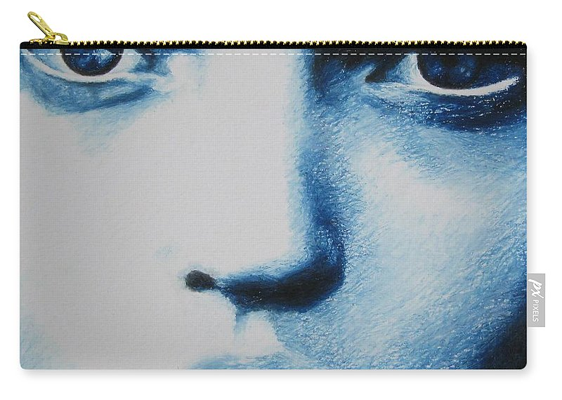 Girl Carry-all Pouch featuring the painting Blue by Lynet McDonald