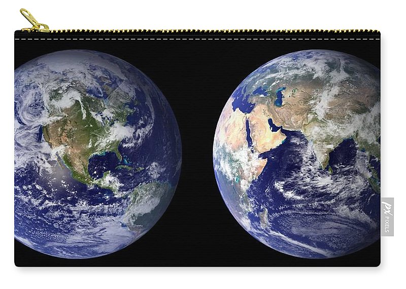 Earth Carry-all Pouch featuring the painting Blue Marble Composite Images Generated By Nasa by Celestial Images