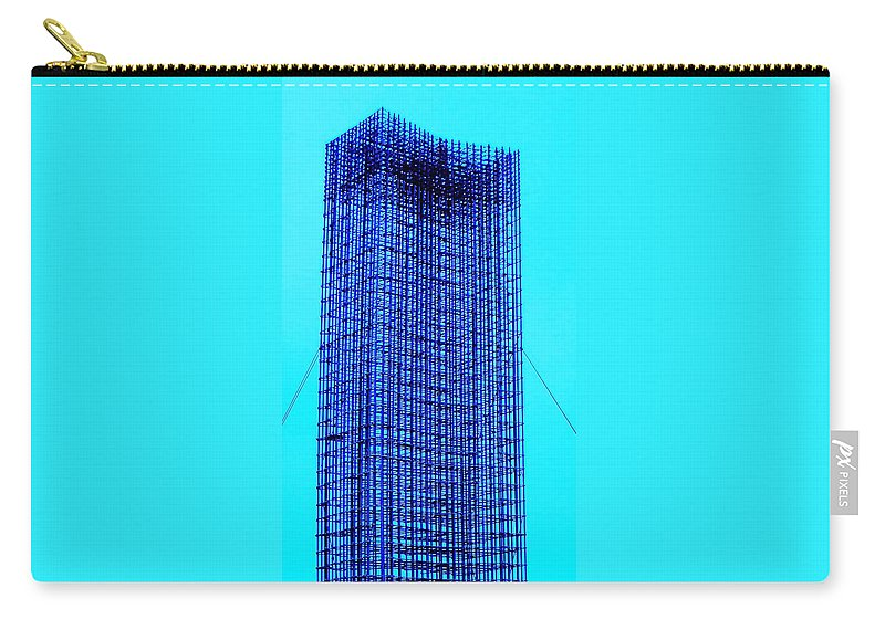 Metal Carry-all Pouch featuring the painting Blue Metal Mesh by Eric Schiabor