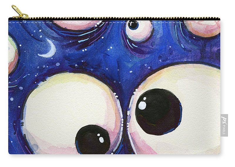 Eyes Carry-all Pouch featuring the painting Blue Monster Eyes by Olga Shvartsur