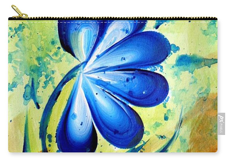 Flower Carry-all Pouch featuring the painting Blue Mood by Luiza Vizoli