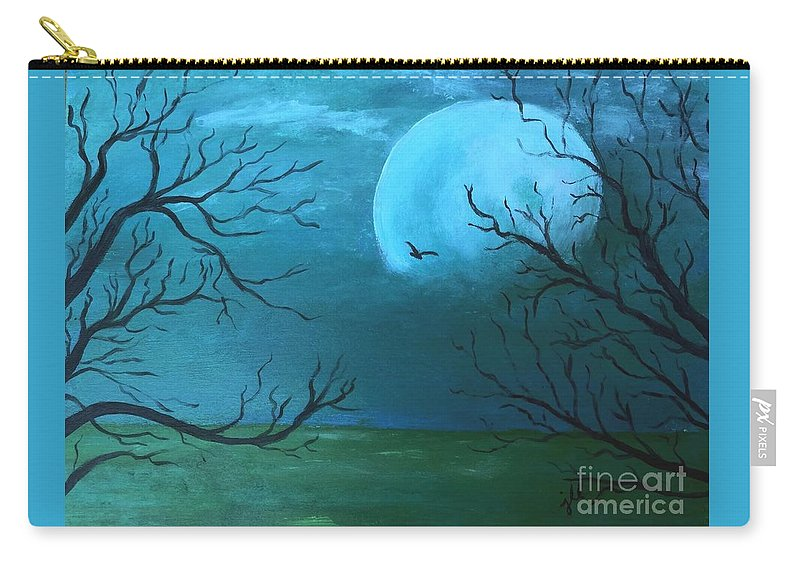 Moon Carry-all Pouch featuring the painting Blue Moon by Jessie Lofland
