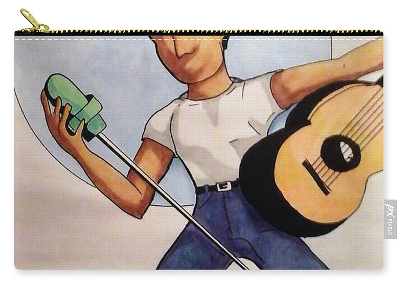 Music Carry-all Pouch featuring the drawing Blue Moon by Loretta Nash
