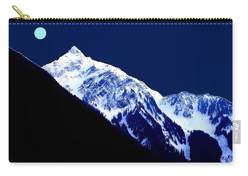 Photo-design Carry-all Pouch featuring the digital art Blue Moon by Will Borden