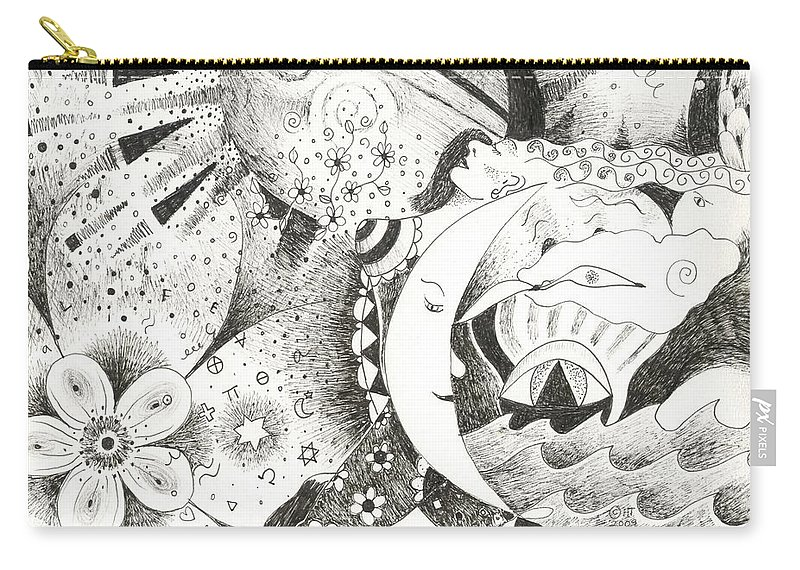 Surreal Carry-all Pouch featuring the drawing Blue Moons And Tidbits by Helena Tiainen