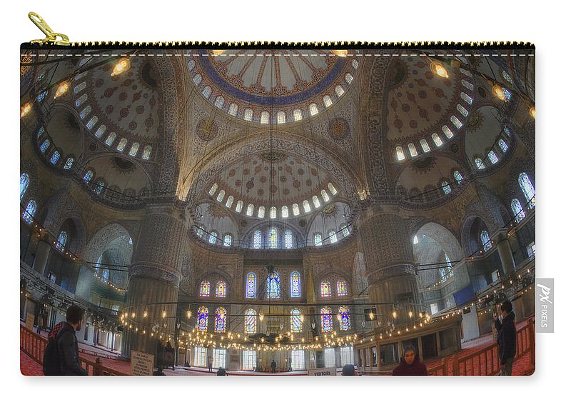 Blue Mosque Carry-all Pouch featuring the photograph Blue Mosque Interior by Joan Carroll