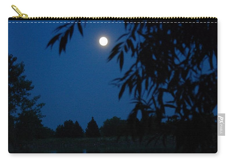 Moon Carry-all Pouch featuring the photograph Blue Night Moon And Reflection by Katherine Nutt