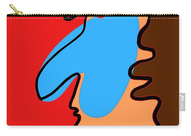 Face Carry-all Pouch featuring the digital art Blue Nose by Jeff Quiros