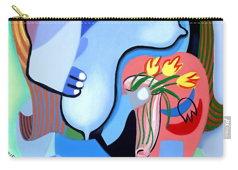 Blue Nude With Tulips Carry-all Pouch featuring the painting Blue Nude With Tulips by Anthony Falbo