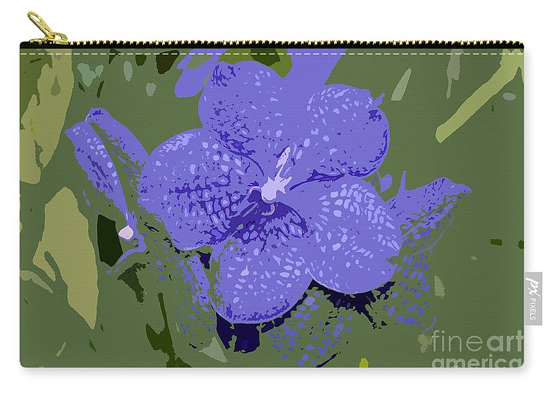 Flower Carry-all Pouch featuring the photograph Blue On Green Work Number 9 by David Lee Thompson