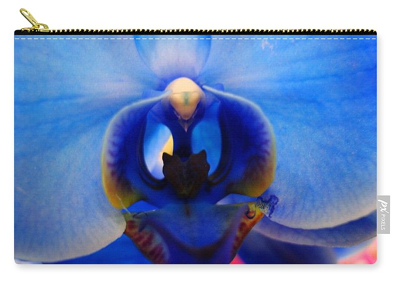 Orchid Carry-all Pouch featuring the photograph Blue Orchid Heart by Michiale Schneider