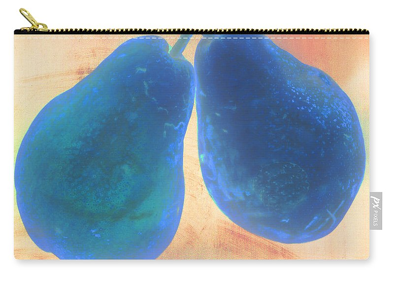 Pear Digital Blue Fruit Stem Carry-all Pouch featuring the photograph Blue Pears On Soft Peach by Heather Kirk