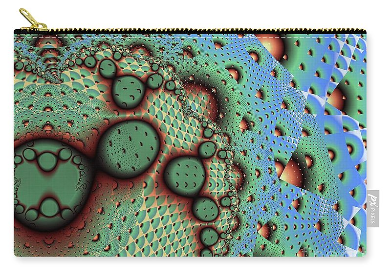 Fractal Art Carry-all Pouch featuring the digital art Blue Pineapple by Ron Bissett