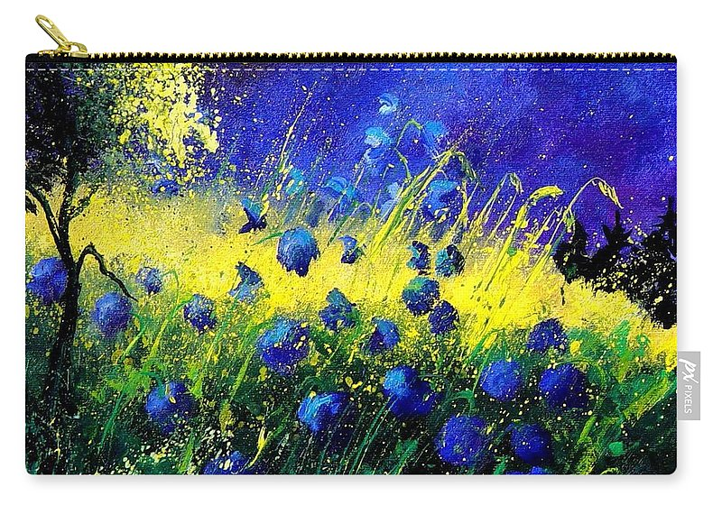 Flowers Carry-all Pouch featuring the painting Blue Poppies by Pol Ledent