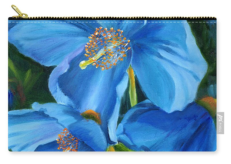 Blue Poppy Carry-all Pouch featuring the painting Blue Poppy by Renate Nadi Wesley