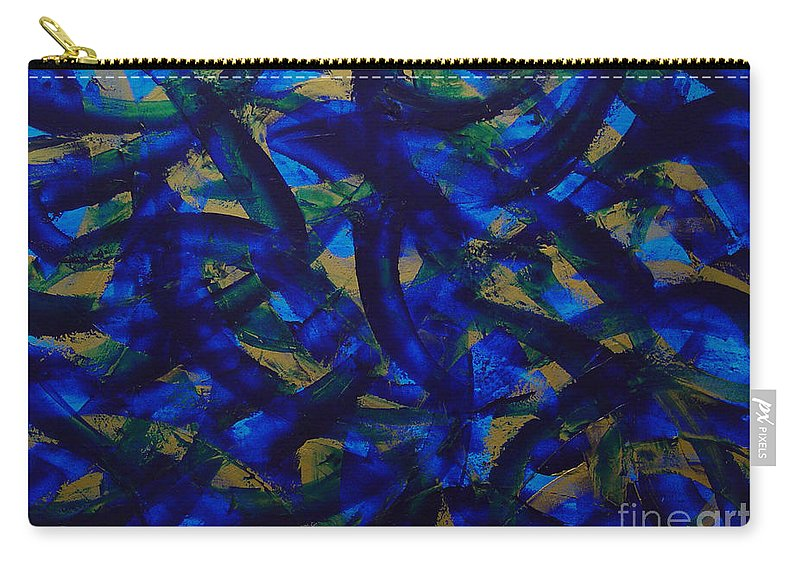 Abstract Carry-all Pouch featuring the painting Blue Pyramid by Dean Triolo