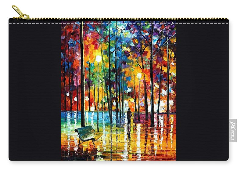 Afremov Carry-all Pouch featuring the painting Blue Refelctions by Leonid Afremov