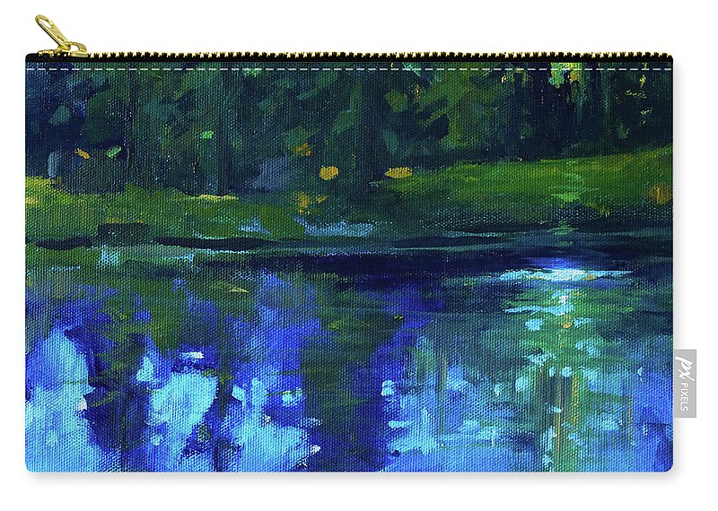 Blue Landscape Painting Carry-all Pouch featuring the painting Blue Reflection by Nancy Merkle