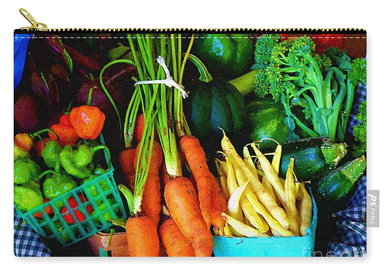 Basket Carry-all Pouch featuring the painting Blue Ribbon Harvest by RC DeWinter