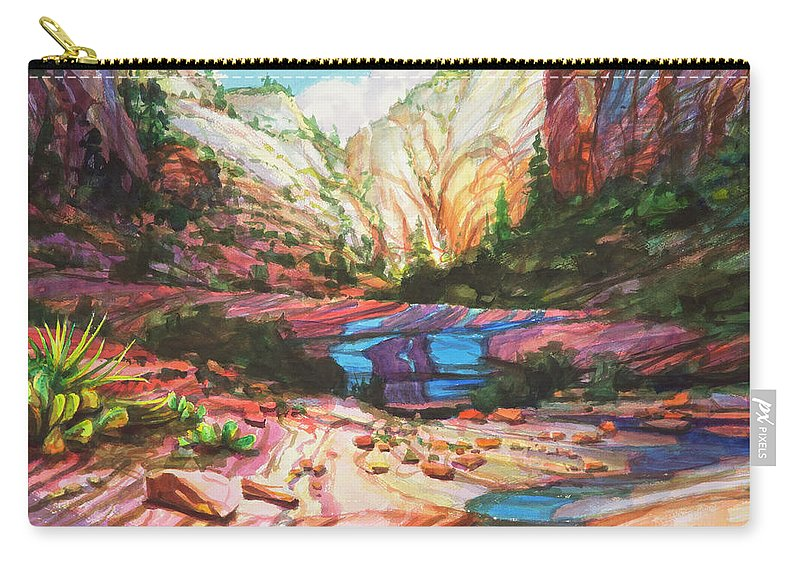 Zion Carry-all Pouch featuring the painting Blue Ribbon by Steve Henderson