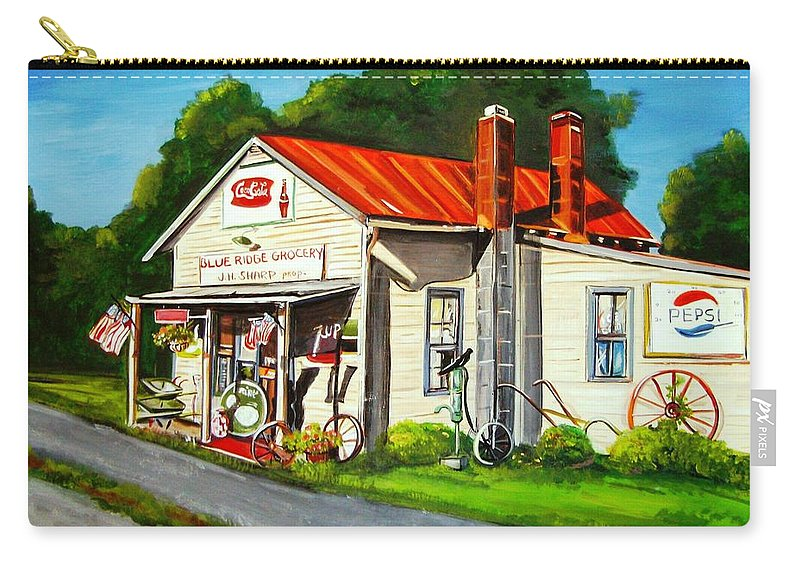 Landscape Carry-all Pouch featuring the painting Blue Ridge Grocery by Marsha Hale