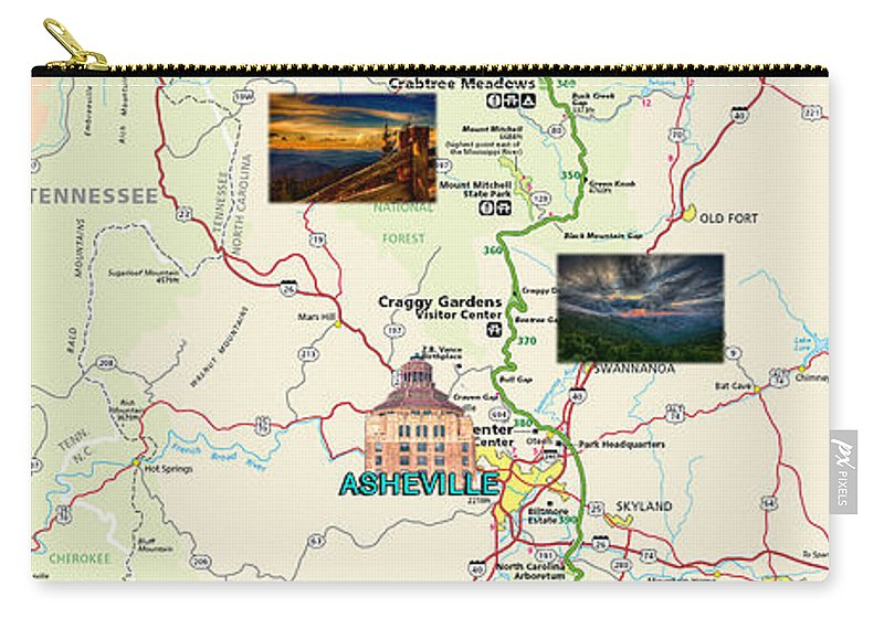 Blue Ridge Parkway Carry-all Pouch featuring the digital art Blue Ridge Parkway In North Carolina by John Haldane