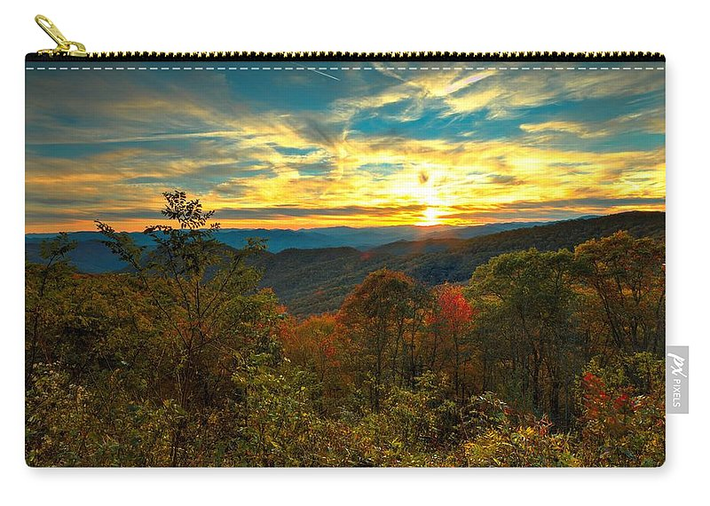 Carol R Montoya Carry-all Pouch featuring the photograph Blue Ridge Sunsets by Carol Montoya