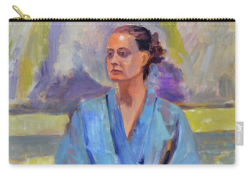 Figure Carry-all Pouch featuring the painting Blue Robe by Keith Burgess