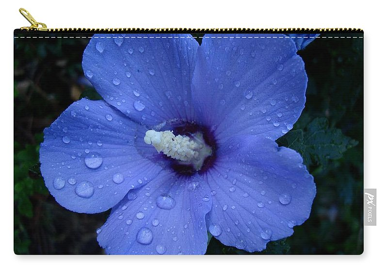 Rose-of-sharon Carry-all Pouch featuring the photograph Blue Rose Of Sharon II by Michiale Schneider