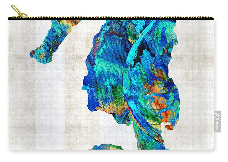 Seahorse Carry-all Pouch featuring the painting Blue Seahorse Art By Sharon Cummings by Sharon Cummings